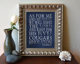 "BYU Brigham Young Cougars Personalized ""As for Me"" Art Print"