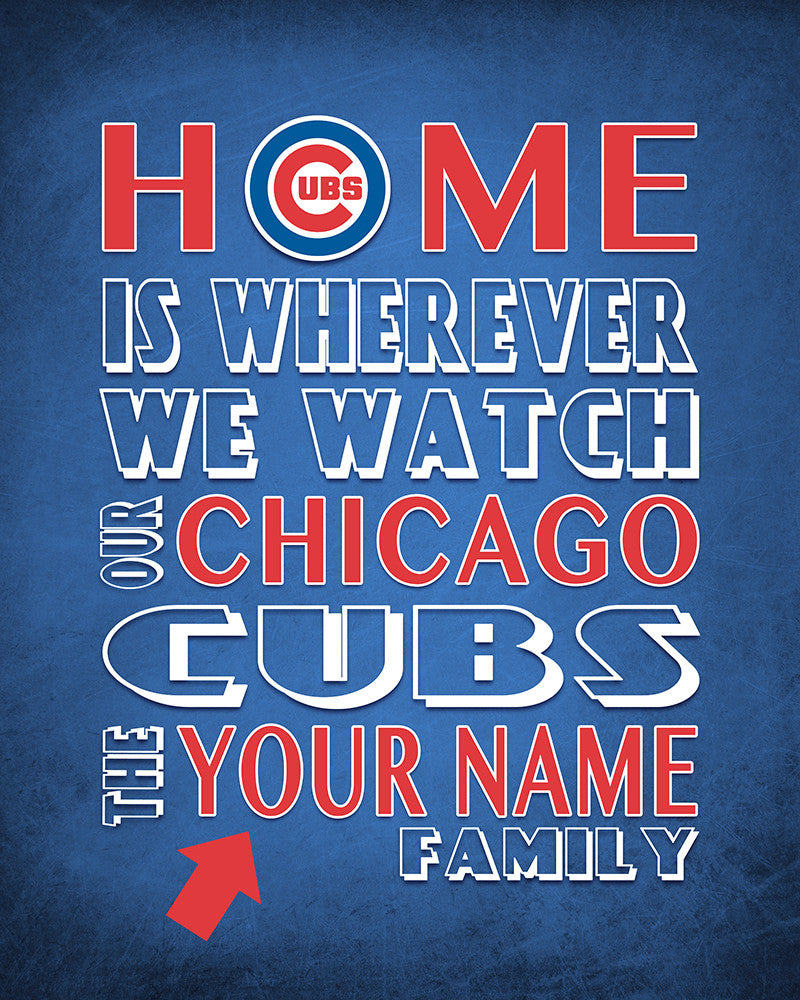 """Wedding Gifts Chicago: Chicago Cubs Baseball Personalized """"Home Is"""" Art Print"""