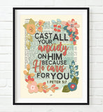 Cast all your anxiety on Him - 1 Peter 5:7- Bible Verse Page Floral Christian Art Print