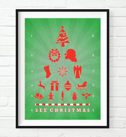 See Christmas Eye Chart Art Print,  UNFRAMED, All Sizes