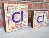 Clemson Tigers - South Carolina - Periodic Map art print on Wooden Block