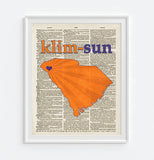 Clemson Tigers Inspired Phonics/Phonetic ART PRINT Using Old Dictionary Pages, Unframed