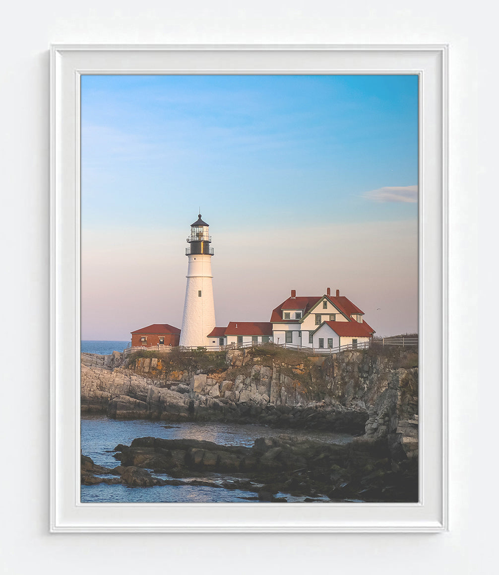 Cape Elizabeth Portland Maine Seascape Lighthouse Photography Prints, Set  of 2, Coastal Wall Decor