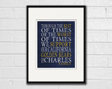 "California Golden Bears Personalized Customized Art Print- ""Best of Times"" Parody- Charles Dickens-  Unframed Print"