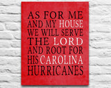 "Carolina Hurricanes hockey inspired Personalized Customized Art Print- ""As for Me"" Parody- Unframed Print"