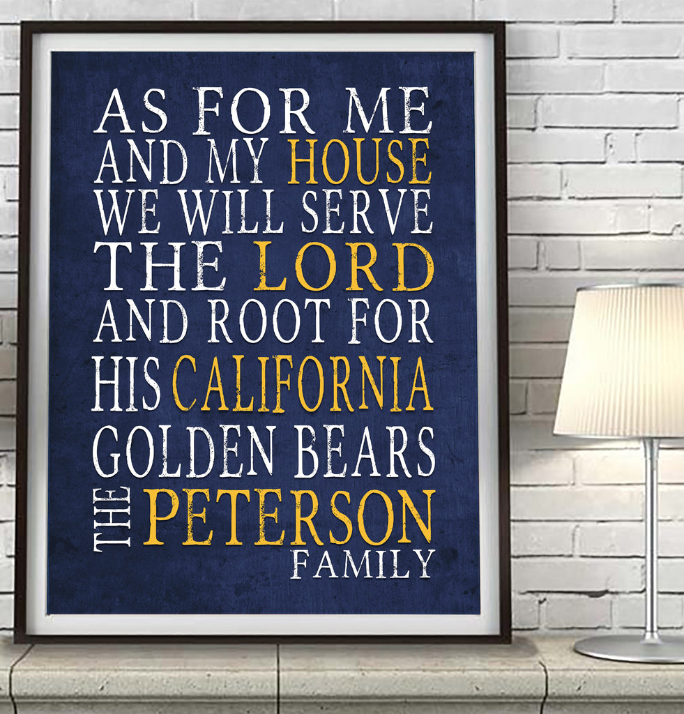 "California Golden Bears personalized ""As for Me"" Art Print"