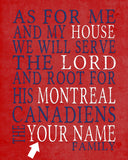 "Montreal Canadiens hockey inspired Personalized Customized Art Print- ""As for Me"" Parody- Unframed Print"