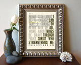 I can do all things through Christ- Philippians 4:13-Vintage Bible Highlighted Verse Scripture Page- Christian Wall ART PRINT