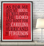 "Carolina Hurricanes hockey Personalized ""As for Me"" Art Print"