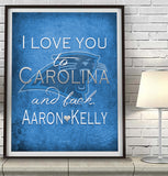 "Carolina Panthers personalized ""I Love You to Carolina and Back""  Art Print Poster Gift"