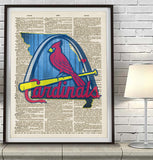 St Louis Cardinals baseball Dictionary Page Art Print - Christmas poster gift