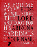 "Arizona Cardinals football Personalized Art Print- ""As for Me"" Parody- Unframed"