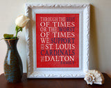 "St. Louis Cardinals Personalized ""Best of Times"" Art Print Poster Gift"