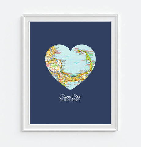 Cape Cod Massachusetts Vintage Heart Map - Custom Colors - Couples- Engagement -Anniversary -Christmas- Family gift UNFRAMED ART PRINT
