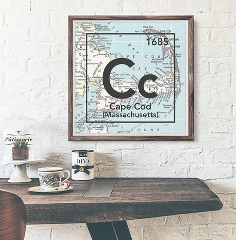 Cape Cod Massachusetts Cc- Vintage Periodic Map ART PRINT- unframed