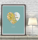 Chicago Illinois Heart Map ART PRINT