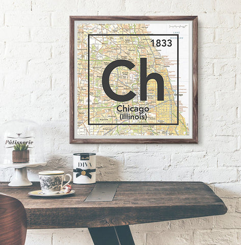 Chicago Illinois Ch- Vintage Periodic Map ART PRINT