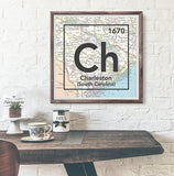 Charleston South Carolina Ch- Vintage Periodic Map ART PRINT