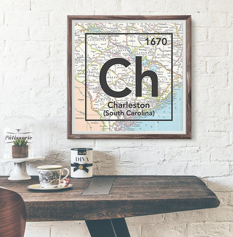 Charleston South Carolina Ch- Vintage Periodic Map ART PRINT- unframed