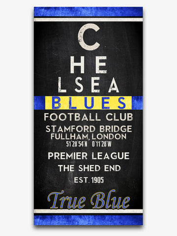 "Chelsea Blues FC Football Club ""Eye Chart"" ART PRINT, Sports Wall Decor, man cave gift for him, Unframed"