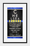 "Chelsea Blues FC Football Club ""Eye Chart"" ART PRINT"