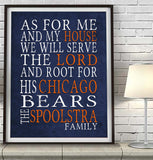 "Chicago Bears football Personalized ""As for Me"" Art Print"