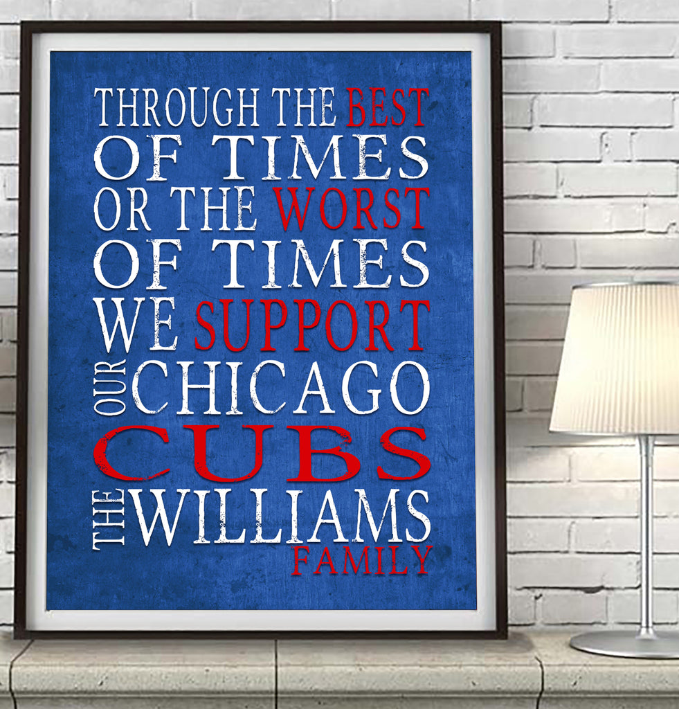 "Chicago Cubs baseball Personalized ""Best of Times"" Art Print Poster Gift"
