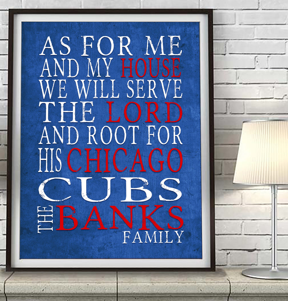 "Chicago Cubs baseball Personalized ""As for Me"" Art Print"