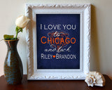 "Chicago Bears inspired personalized ""I Love You to Chicago and Back"" ART PRINT parody - Unframed"