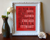 "Chicago Bulls basketball Personalized ""As for Me"" Art Print"