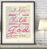 I am a Child of God- Galatians 3:26 Bible Page Christian ART PRINT