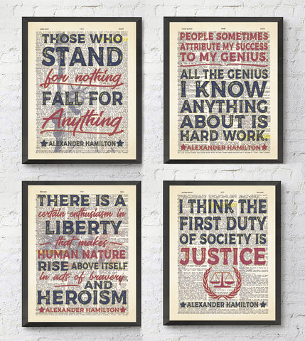 Alexander Hamilton Quotes - Set of 4 - Vintage Dictionary Page Art Prints
