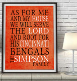"Cincinnati Bengals football Personalized ""As for Me"" Art Print"