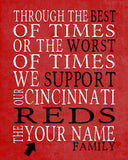 "Cincinnati Reds Baseball Personalized ""Best of Times"" Art Print Poster Gift"
