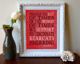 "Cincinnati Bearcats Personalized Customized Art Print- ""Best of Times"" Parody- Charles Dickens-  Unframed Print"