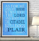 "Citadel Bulldogs Personalized ""As for Me"" Art Print"