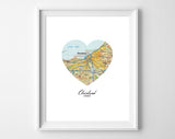 Cleveland Ohio Heart Map ART PRINT