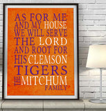 "Clemson Tigers personalized ""As for Me"" Art Print"