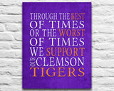 "Clemson Tigers Personalized ""Best of Times"" Art Print Poster Gift"