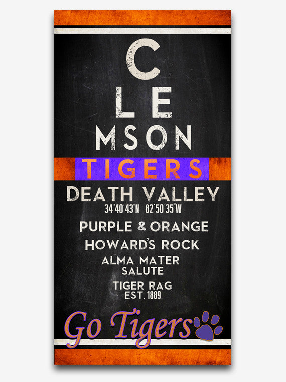 "Clemson Tigers inspired ""Eye Chart"" ART PRINT, Sports Wall Decor, man cave gift for him, Unframed"