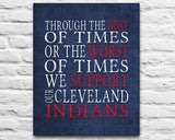 "Cleveland Indians Baseball Personalized ""Best of Times"" Art Print Poster Gift"