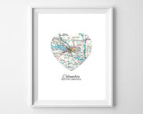 Columbia South Carolina Heart Map ART PRINT