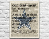 "Dallas Cowboys inspired ""Contentment"" ART PRINT Using Old Dictionary Pages, Unframed"