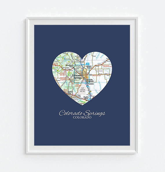 Colorado Springs Colorado Heart Map - Custom Colors - Couples - Wedding - Engagement -Anniversary -Christmas- Family gift UNFRAMED ART PRINT