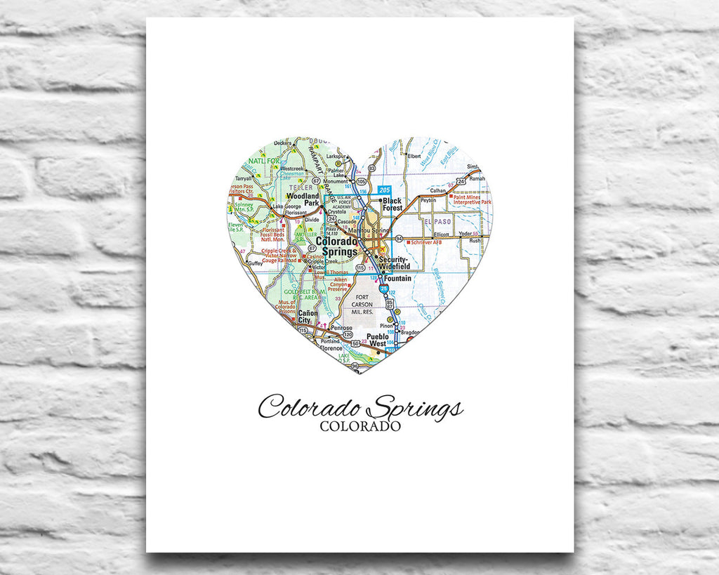 Art colorado springs - Colorado Springs Colorado Heart Map Art Print