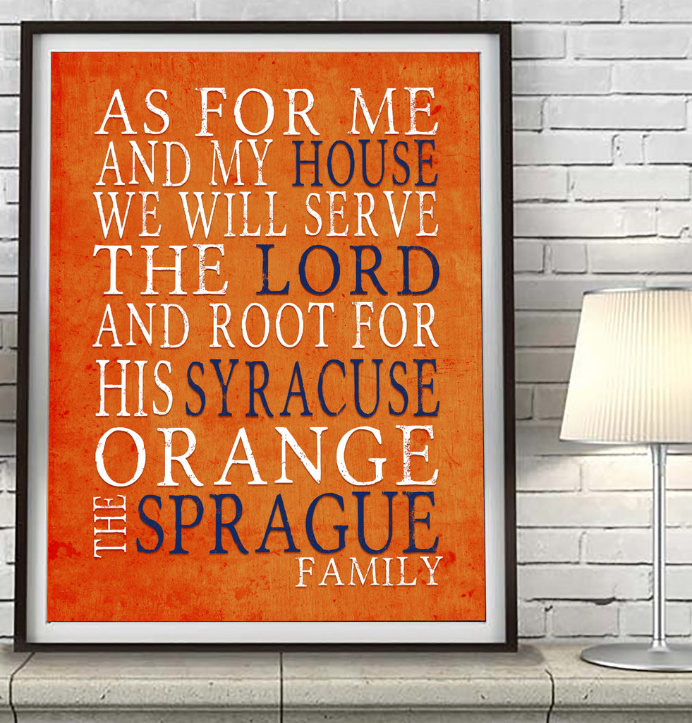 "Syracuse Orange Personalized ""As for Me"" Art Print"
