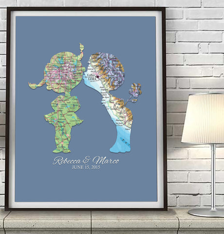 Custom Wedding Kids in Love Maps Art Print