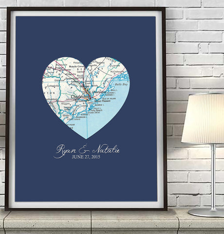 Custom Wedding Vintage Heart Map ART PRINT