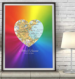 Rainbow Gay LGBTQ Custom Wedding Heart Map ART PRINT