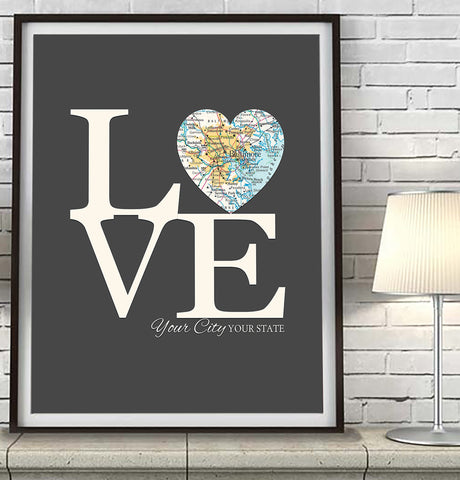 Custom LOVE City Heart Map -Wedding- Engagement -Anniversary ART PRINT
